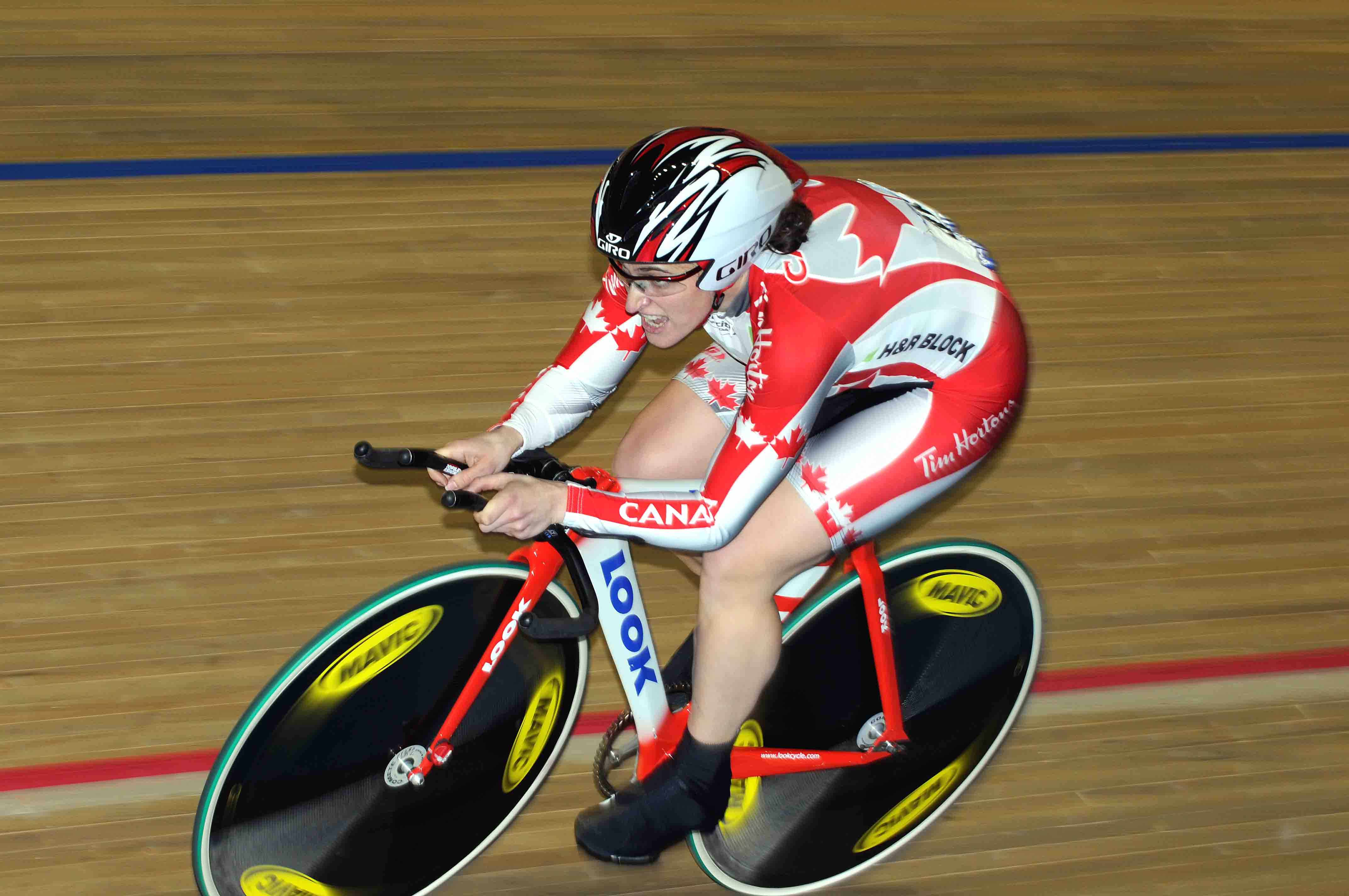 Tara Whitten (Canada) in action during the qualifying rounds of the women's individual pursuit