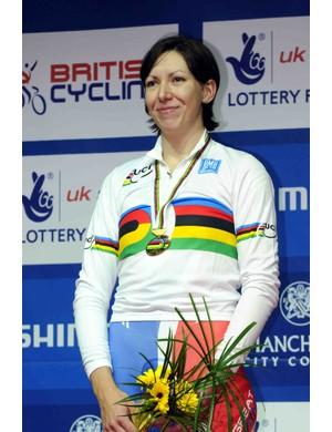 Great Britain's Rebecca Romero took gold in the women's 3000 metres individual pursuit