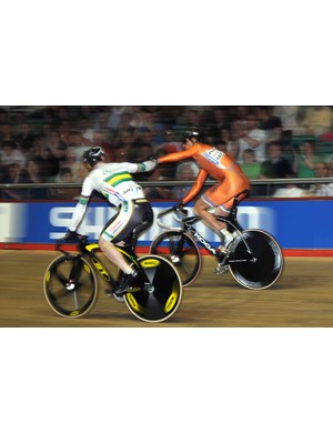 Ryan Bayley (Australia) and Theo Bos (Netherlands) after their battle in sprint qualifying