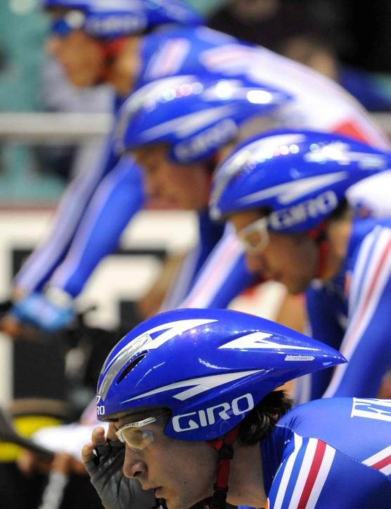 Focusing before the off: the French team wait for the start of their qualification run.