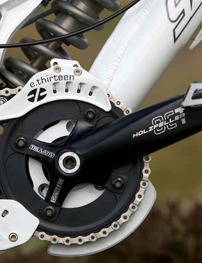 Holzfeller OCT chainset. E-Thirteen LG1 chain guide. Crankbrothers Mallets pedals