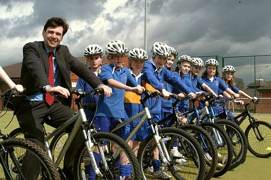Andy Burnham MP with the kids from Lowton High School.