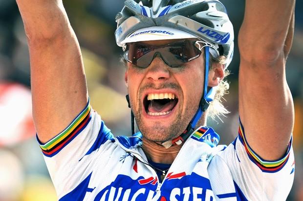 Tom Boonen winning this year's Paris-Roubaix