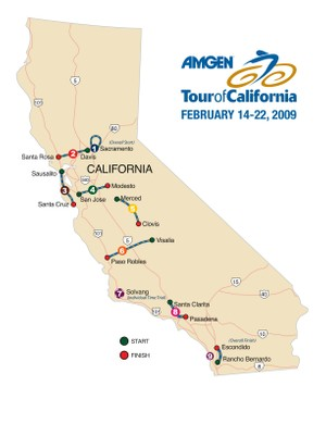 The 2009 Tour of California route.