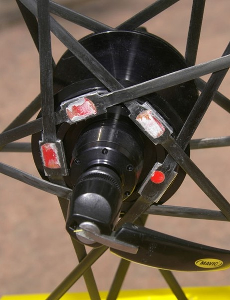 New 'rim to rim' carbon fiber spokes are much lighter than steel and feel noticeably slippery at high speed.