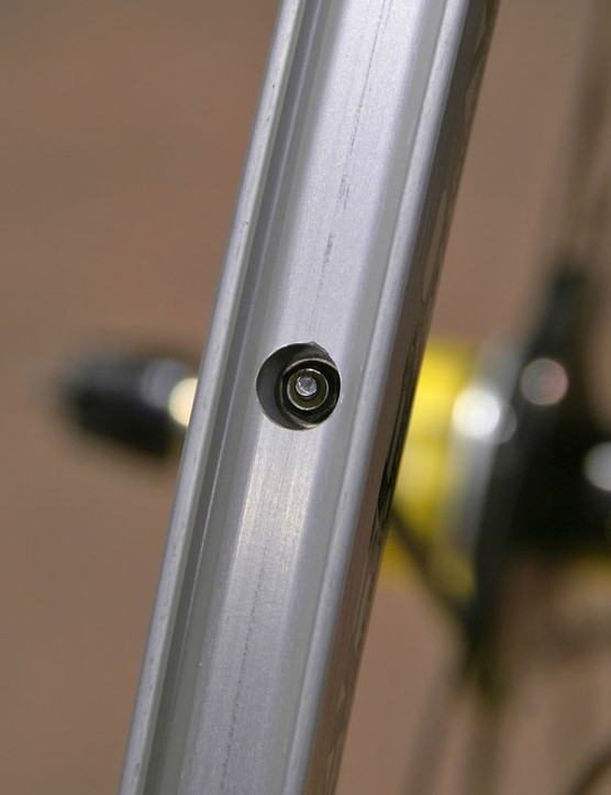 Even though the spokes are carbon, the wheel can still be trued thanks to threaded ends and internal nipples.