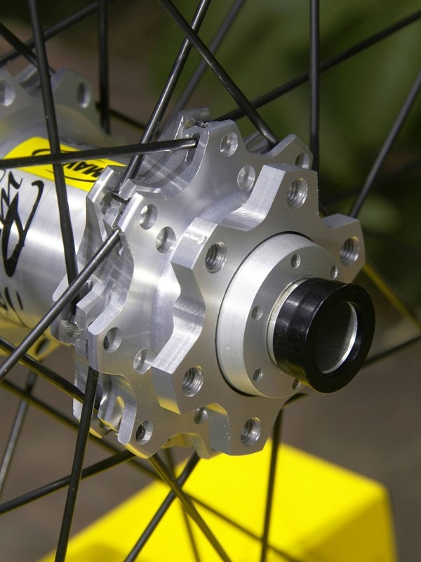 New Spoke Retention System milling at the hubs supposedly eliminates spoke ejection during hard hits.