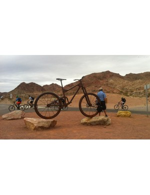 A giant mountain bike welcomes riders to Bootleg Canyon