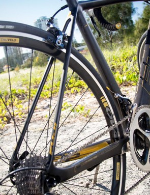 High-end components and a lightweight frame and fork tip the scales at 6.4kg