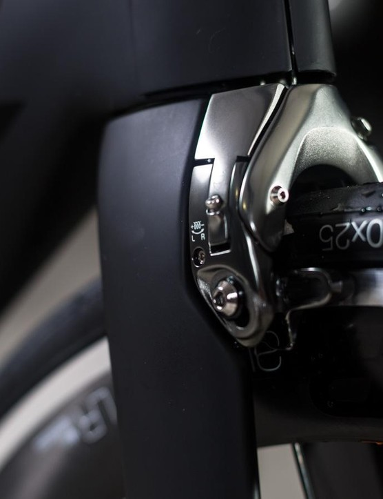 The Madone features proprietary centre-pull brakes