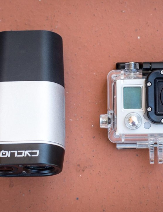 We weren't kidding when we said the Fly12 was big – here it is next to a GoPro Hero3 Black