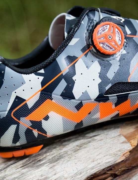 They're orange at the front but clear protective panels run around the back of the shoe