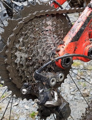 A drivetrain covered in mud, which fortunately continued to work