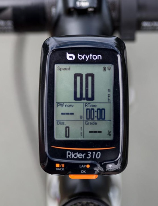 The Rider 310 will adjust which data screens it shows based on which sensors are currently paired. Here we had our Stages power meter connected to the head unit but no heart rate strap