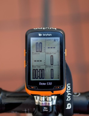 Bryton's Rider 530 automatically adapts its display when it detects paired sensors, here's it's connected to a Stages power meter