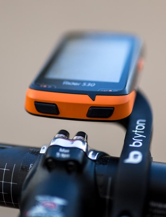 The out-in-front mount allows enough room for easy access to the bottom two buttons