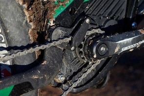 Cannondale uses its own custom offset chainring to maintain the chainline created by the wide 157mm rear axle spacing. Their integrated chain guide is a neat touch too