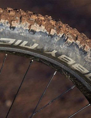 While the 2.8in Nobby Nic tyres provide incredible traction when climbing, they're not the best in thick mud and the the lightweight casing means they'll squirm when pushed hard in turns