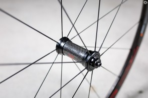 The front wheel gets a carbon hub shell