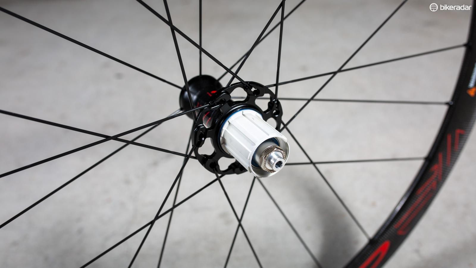 According to Fulcrum the 'Plasma' treated freehub makes the aluminium body especially hard and resistant to surface abrasion and wear. It says it also allowed the thickness of materials to be reduced to a minimum, achieving advantages of lighter weight while maintaining lifespan and reliability