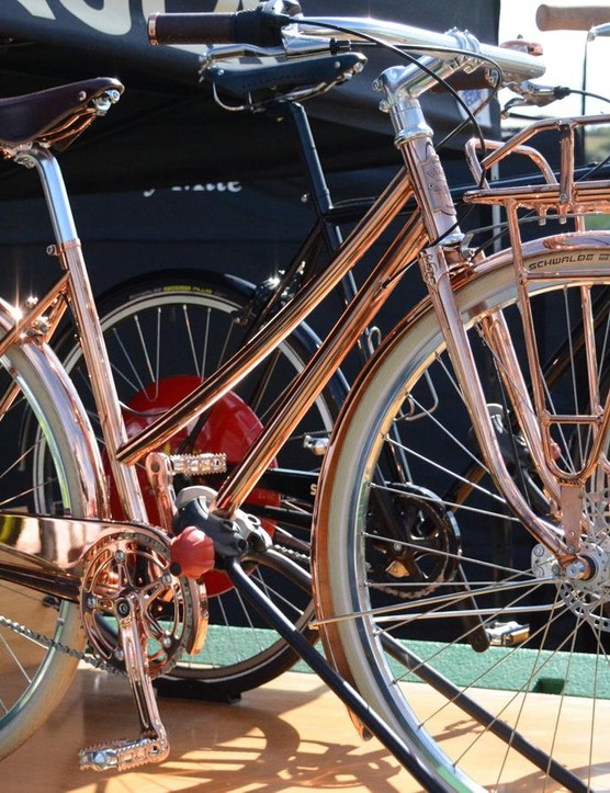 This copper Shinola townie had what seemed like a magnetic draw to its shiny, gold-hued tubes
