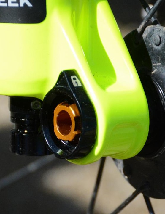 The Helm's D-Loc axle system is Boost width, 15x110mm