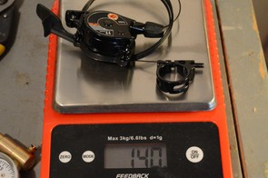 The rear shifter and cable weigh 140g