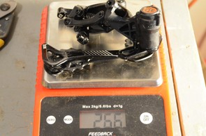 The rear derailleur comes in at 266g
