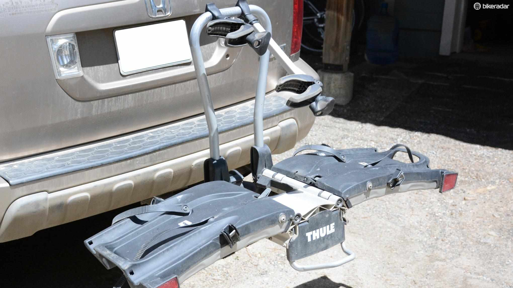 The EasyFold 9032 is a unique-looking hitch-mount two bike rack with a 59kg (130lbs) capacity