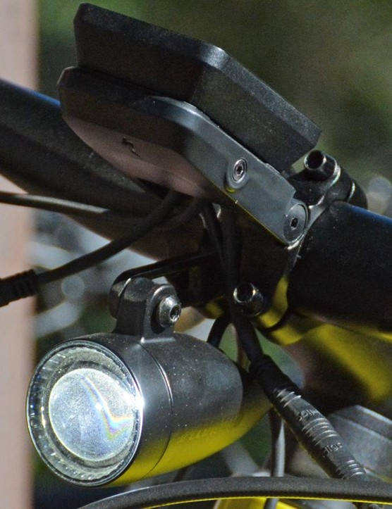 A bright headlight adds visibility and safety