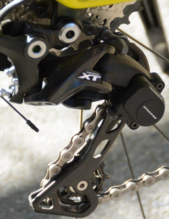 A Shimano XT derailleur provided 11 speed to complement the motor