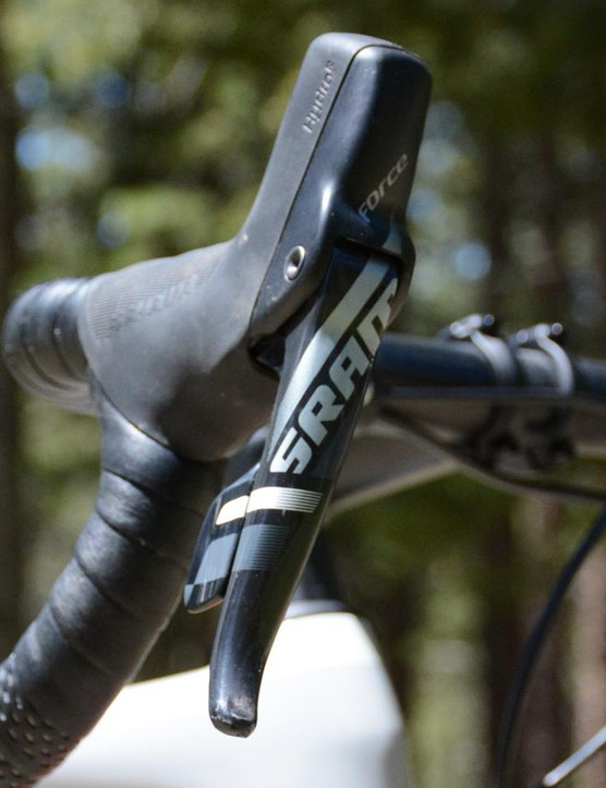 The tall hoods on the Force hydraulic levers should provide plenty to hang onto when the gravel gets bumpy