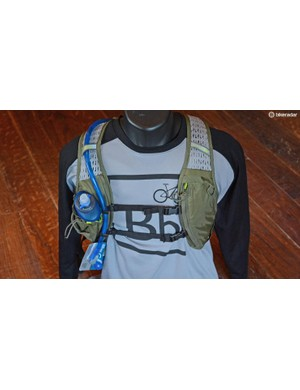 The front of the Chase bike vest has way more going on than a standard hydration pack