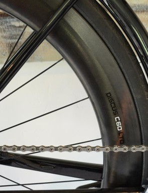 With the elimination of the front derailleur, the seat tube can really hide the rear wheel