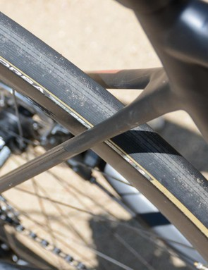 The seatstays are thin and connect low on the seat tube for added compliance. The Fenix SLX is still far from plush