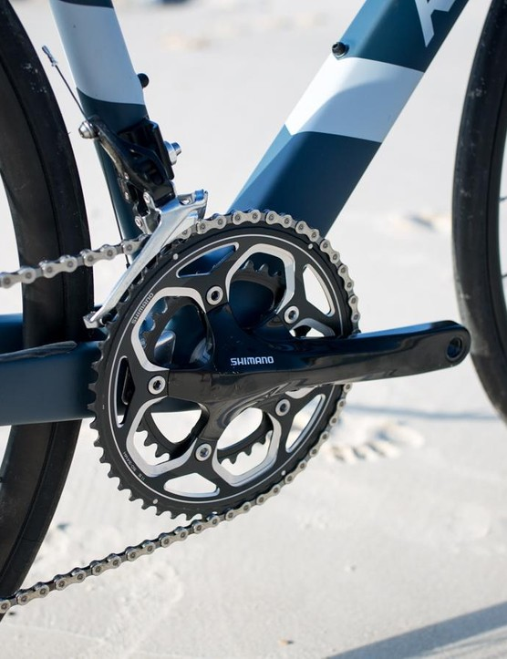 The Shimano non series compact crankset doesn't shift quite as well as the 105 version but it's still pretty good