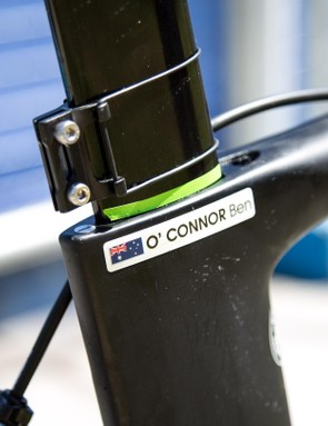 A green sticker marks O'Connor's 830mm saddle height