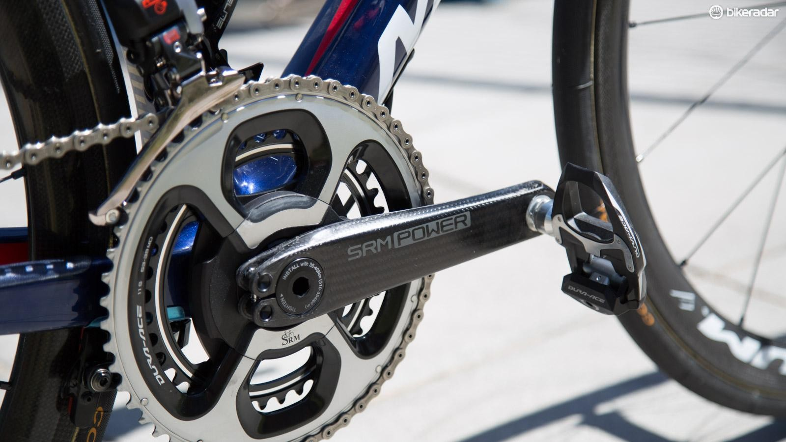 Bahrain Merida's bikes are sporting SRM's new ultra light power meter. While the cranks are labeled SRM Power, they look an awful lot like THM carbon cranks and are claimed to weigh 99g each