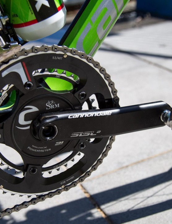 Bevin is riding Cannondale Hollowgram SiSL2 cranks with an SRM power meter
