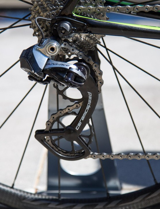 The CeramicSpeed Oversize Pulley Wheels are said to save three watts over traditional jockey wheels