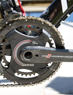 The Campagnolo crankset was equipped with a SRM power meter