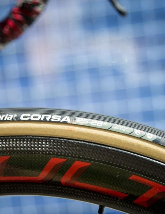 De Gendt is rolling on Vittoria Corsa tubs