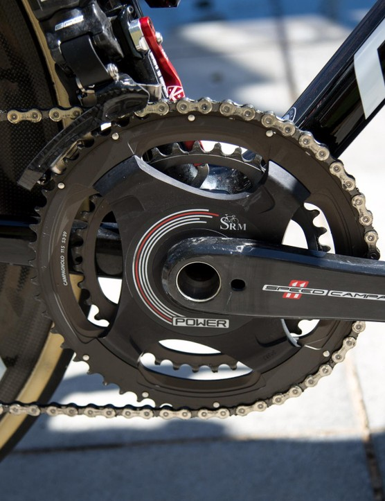 De Gendt uses a SRM power meter and 53-39T chainrings