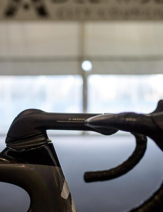 Sagan was riding a MASSIVE 150mm stem