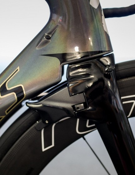 The front brake on the Venge ViAS is hidden behind the fork and melds into the downtube in an effort to smooth airflow