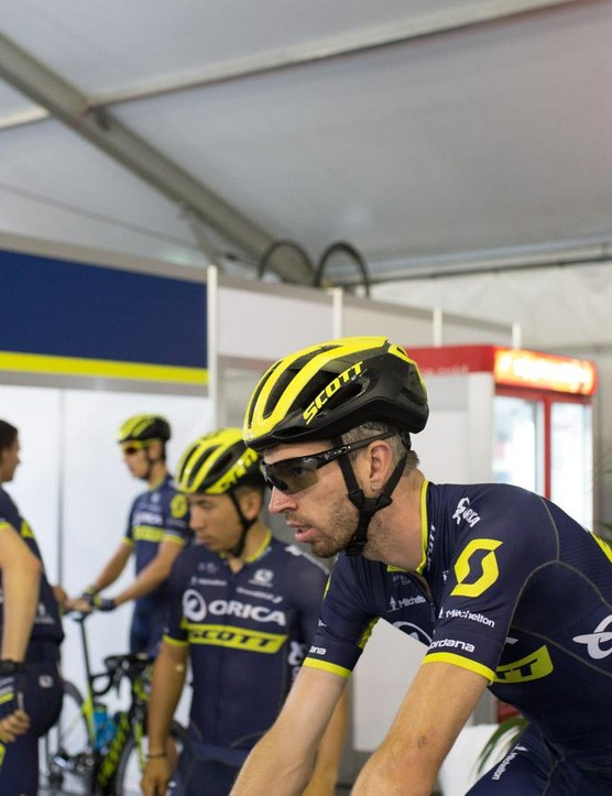 Quite a few of the Orica-Scott riders were sporting the XC MTB Centric Plus lid rather than the aero road Cadence Plus