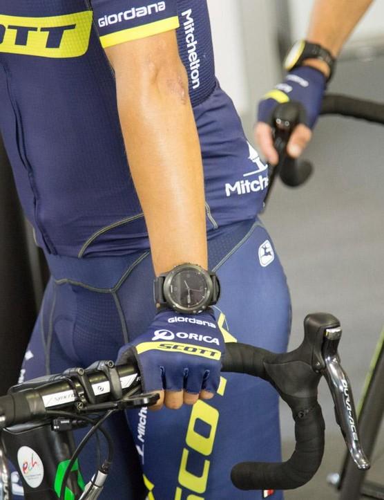 Esteban Chaves was wearing a Garmin Fenix 3 HR ahead of the Orica-Scott morning training ride