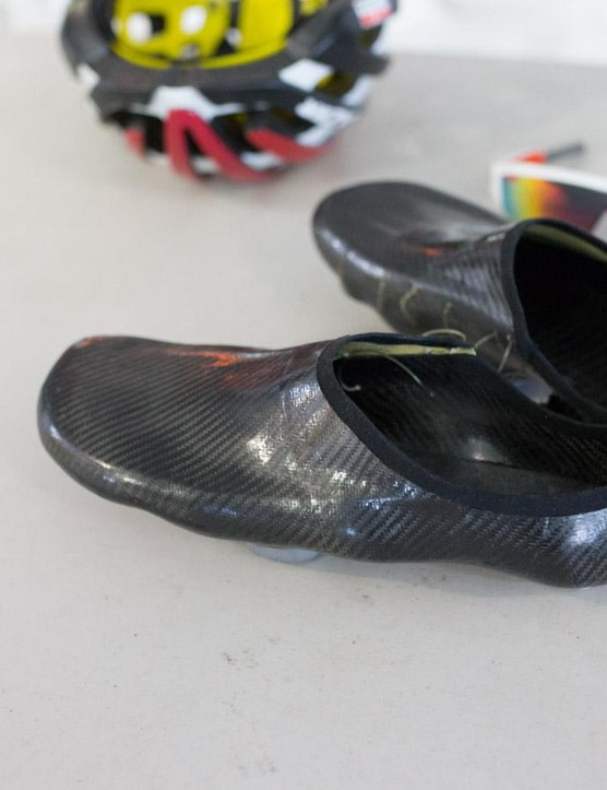 As usual Adam Hansen was wearing his custom homemade carbon fibre shoes
