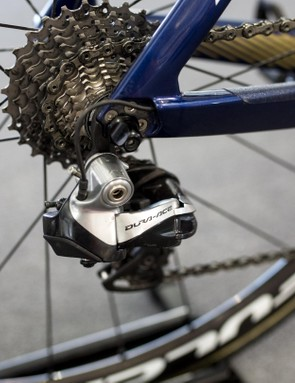 The Japanese rider is still riding Dura-Ace 9070 Di2