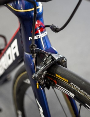 The only Dura-Ace 9100 component on Arashiro's bike was the front brake